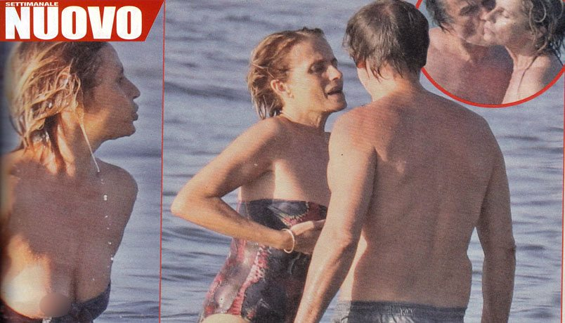 Isabella Ferrari in mare va fuori di seno